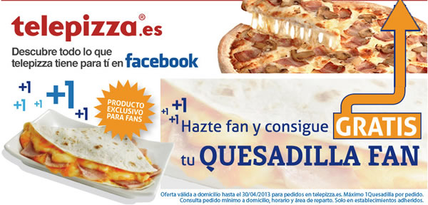 Quesadilla gratis Telepizza