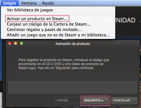 Activar código steam