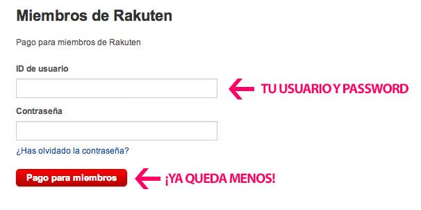 Acceso usuarios Rakuten