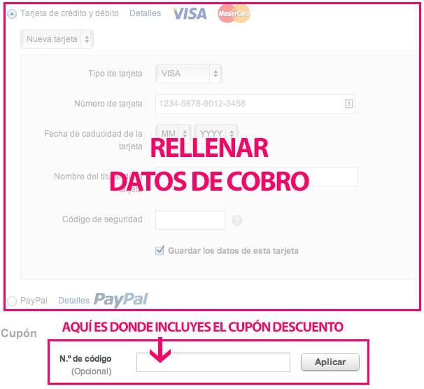 Datos de pago y cupón