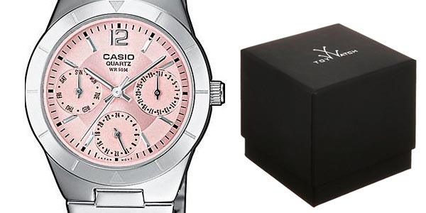 Reloj analógico Casio Collection con esfera rosa para mujer barato en Amazon 49e3c5549579