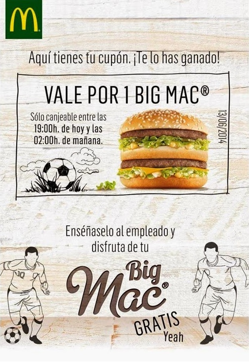 Cupón Big Mac Gratis