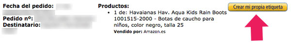 Etiquetas devolucion Amazon