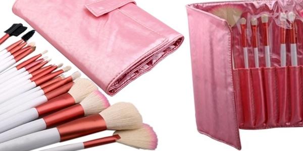 estuche con brochas de maquillaje