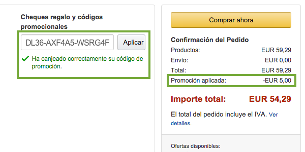codigo descunto en amazon