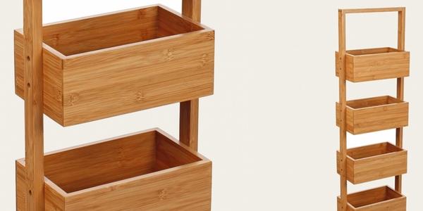 Oferta pr ctico mueble de bamb con 4 estantes para ba o for Estanteria bano toallas