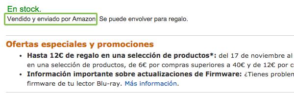 vendido y enviado por Amazon.es