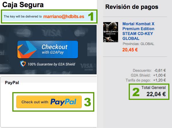 Pago con PayPal G2A