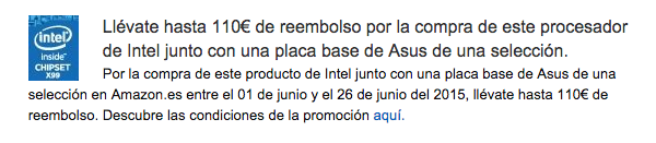 Promoción indicada en Amazon España