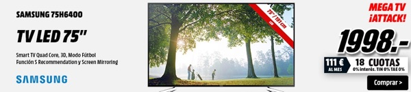 TV LED 75 pulgadas Samsung barata