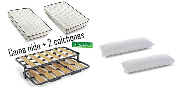 Chollazo 2 somieres para cama nido 2 colchones aloe vera 2 almohadas por s lo 254 y env o - Somieres cama nido ...