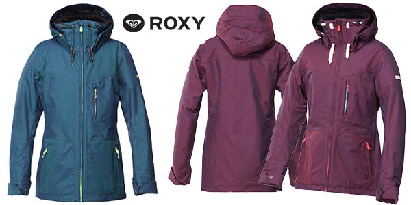 03a5f4476c2 Chollazo cazadora de mujer para la nieve Roxy Wildlife JK por sólo ...