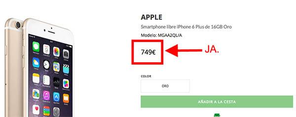 iPhone 6 en El Corte Inglés