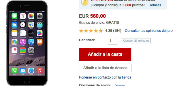 iPhone 6 en Rakuten Black Friday
