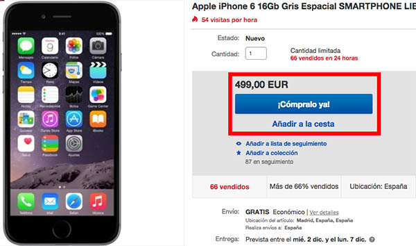 Oferta iPhone 6 en el Black Friday de eBay