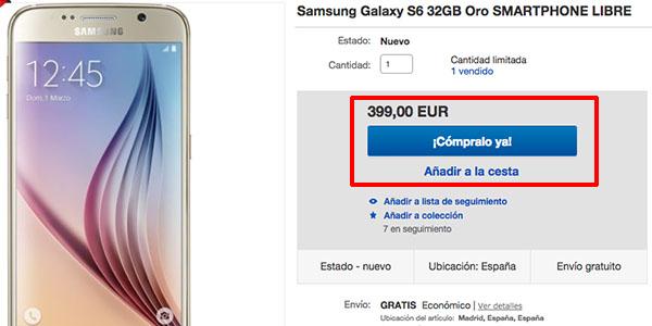 Oferta S6 de 32GB en eBay