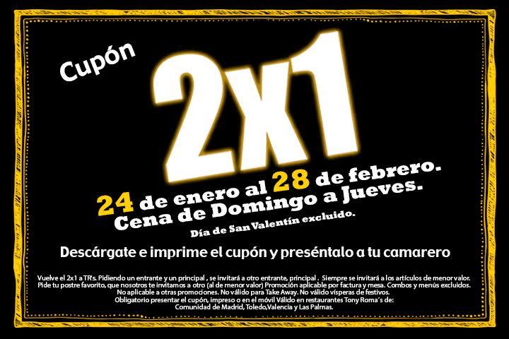 Cupón 2x1 Cenas Tony Roma's