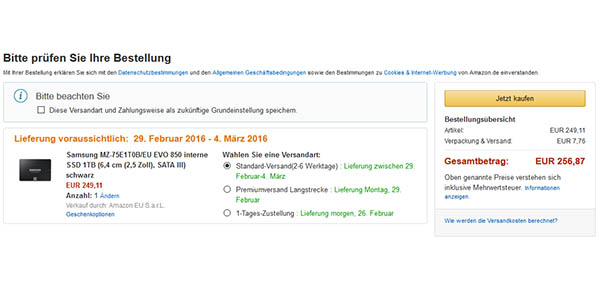 Comprar disco SSD en Amazon Alemania