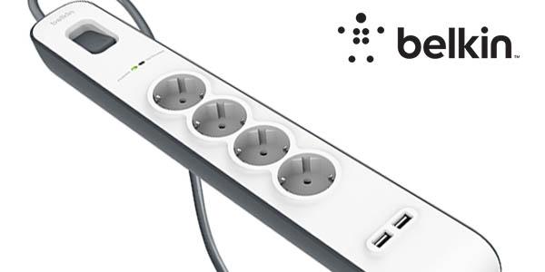 Regleta de protección 4 tomas + 2 USB Belkin