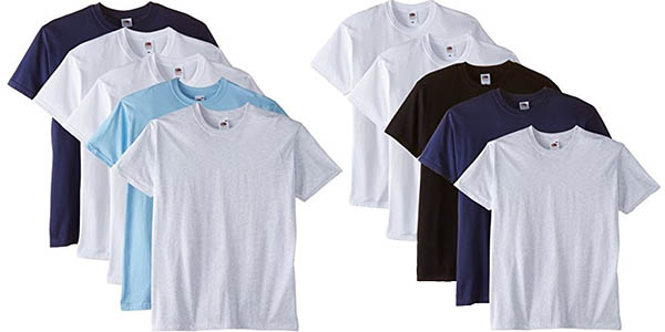 pack camisetas basicas de verano para hombre fruit of the loom