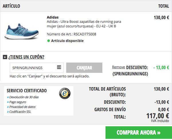 Adidas Ultra Boost por sólo 117€ con envío gratis