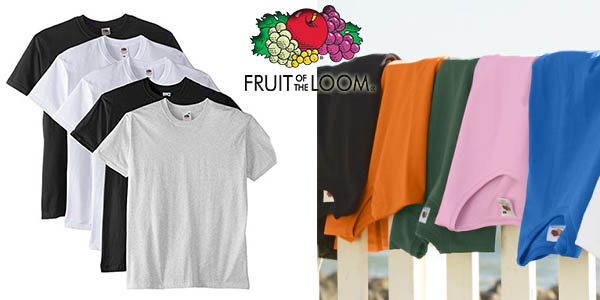 Fruit of the Loom pack 5 camisetas manga corta oferta