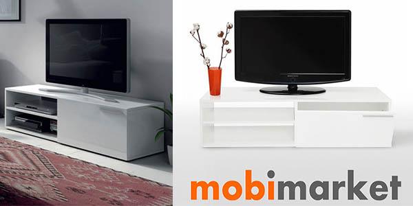 Oferta mueble bajo para tv lacado en blanco por s lo 69 - Mueble television barato ...