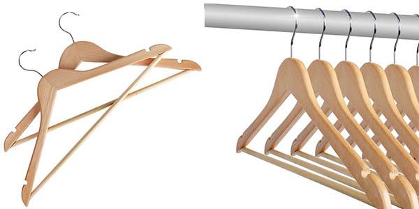 De risa pack de 50 perchas de madera por s lo 37 85 - Perchas pantalones ikea ...