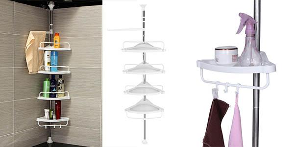 Pr ctica rinconera con estantes para la ducha songmics for Columna ducha barata