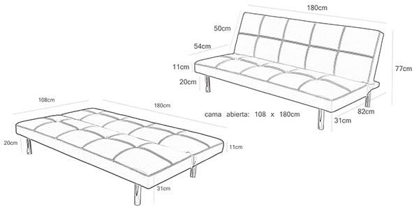 sofa cama gris grande y funcional a precio brutal