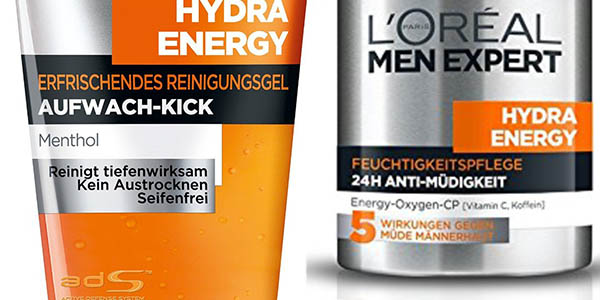 l'oréal men expert hydra energetic pack gel y crema limpiador facial para hombre