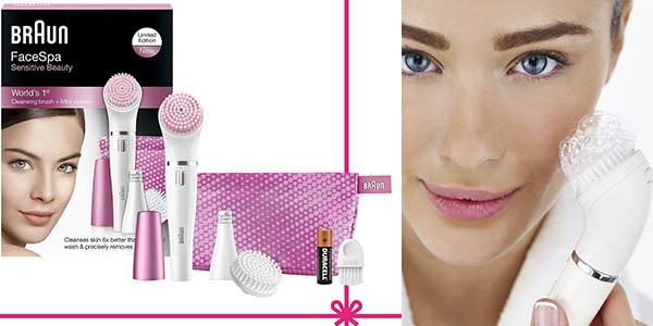 maquina de depilacion facial con cepillo para desmaquillar y limpiar la cara braun face 832s