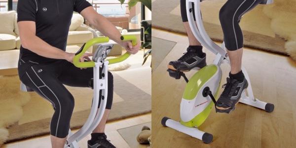 bicicleta estática plegable con sensor de pulso y LCD
