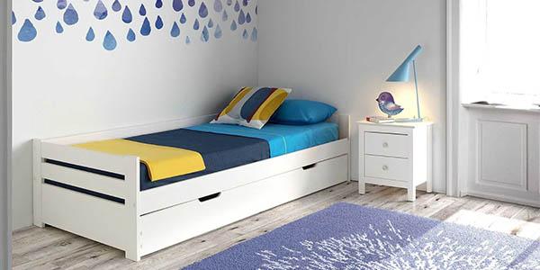 Chollo cama nido de madera elena de 90x190 por s lo 139 for Cama nido con arcon
