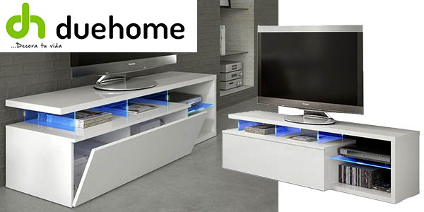 Mueble duehome con retroiluminaci n blue tech para sal n for Mueble tv barato