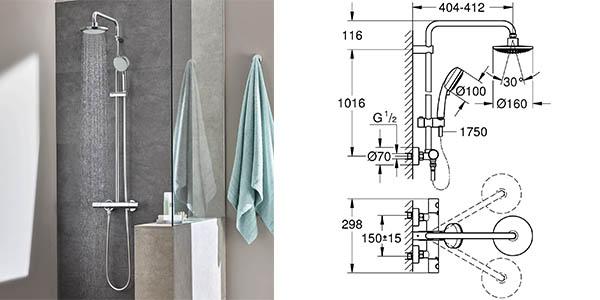 columna de ducha grohe new tempesta con termostato gran relacion calidad-precio