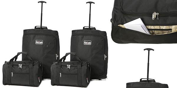 pack 2 trolleys 2 maletas mano medidas equipaje cabina barato