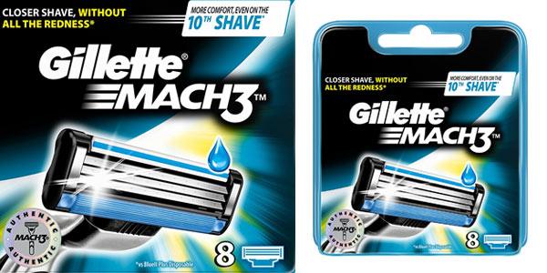 Pack de cuchillas de recambio Gillette Mach 3 8 unidades baratas en Amazon