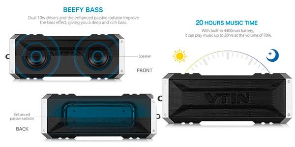 altavoz bluetooth vtsing dual driver bateria duracion