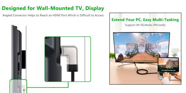 Cable HDMI plano de gama alta en oferta con conector en ángulo