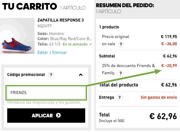 Aplicar cupón descuento Adidas Online