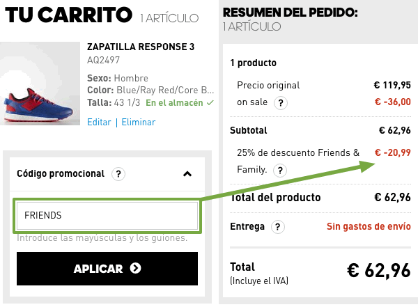 adidas online codigo promocional