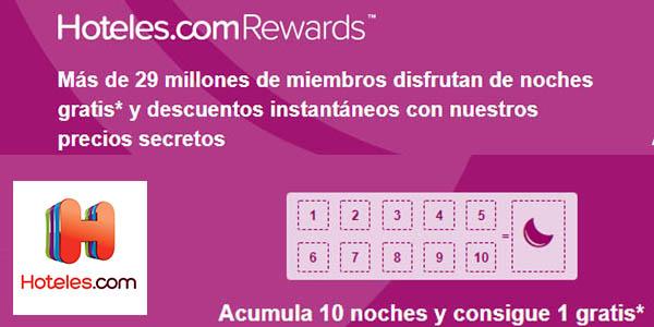 Hoteles.com Rewards alojamientos promoción noche gratis