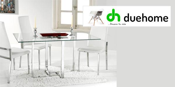 Chollo mesa de dise o para comedor en acero cromado y for Mesa comedor cristal diseno