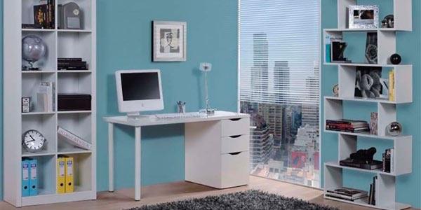 Chollo mesa blanca de escritorio para ordenador con for Mesa de ordenador blanca