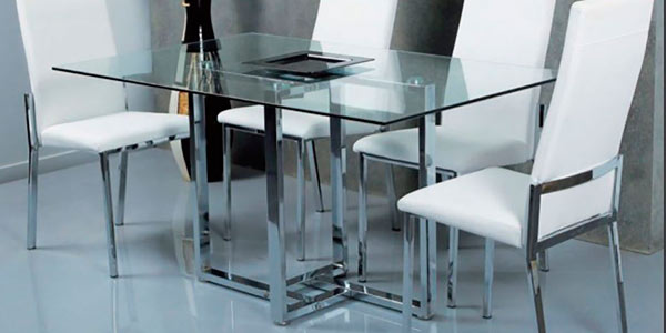 Mesa cristal y acero good mesa de acero y vidrio with for Mesas comedor cristal y acero
