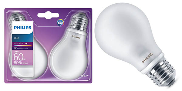 Pack de 2 bombillas LED Philips E27 7W