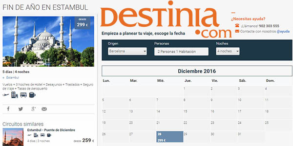 pack destinia fin año estambul