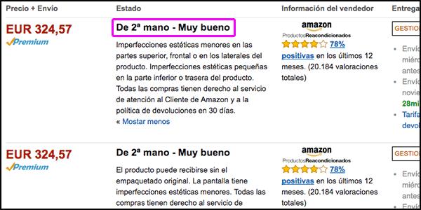 productos reacondicionados en Amazon España