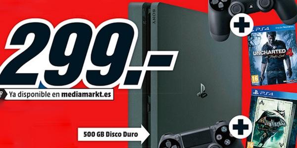Pack PS4 Slim con Dualshock extra y 2 juegos